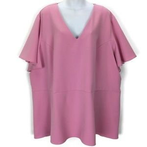 Lane Bryant 28 Pink Top Shirt Short Sleeve Stretch